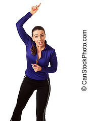 Womens Sports Coach - Womens sports coach Studio shot over...