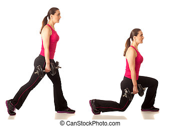 Lunge Exercise - Weighted lunge exercise. Studio shot over...