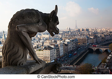 Notre Dame of Paris: Famous Chimera (demon) overlooking the...