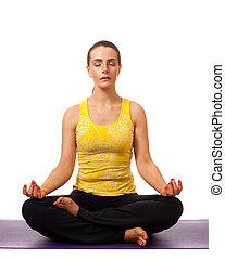 Yoga Pose - Adult female yoga practitioner Studio shot over...