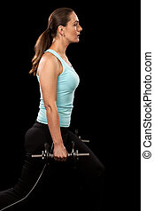 Lunge Exercise - Weighted lunge exercise Studio shot over...