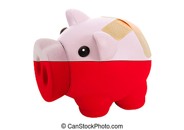epty poor man piggy rich bank in colorsnational flag of poland on white