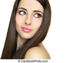 Beautiful makeup woman with brown hair and blue eyes looking...