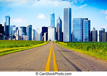 American Country Road with City on the Horizont