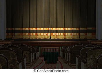 The auditorium and the stage in the theater