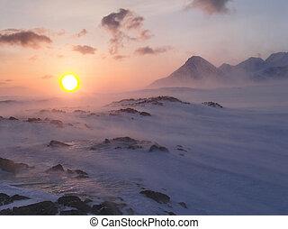 Winter Arctic landscape (Spitsbergen, Svalbard)