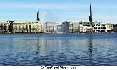Alster fountain in spring
