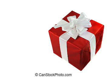 Christmas red gift with white satin bow isolated on white...