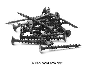 Drywall screws - Black drywall screws isolated on white