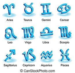 Horoscope zodiac star signs. Blue shiny icons