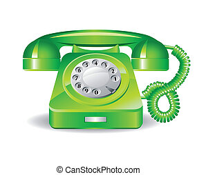 Retro green telephone on a white background