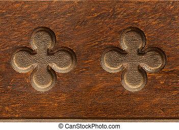 Wooden cloverleaf shaped indent pattern seamlessly tileable