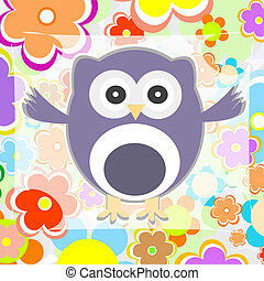 cute summer background owl with flower