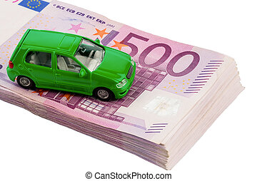green car on banknotes - green model car on banknotes,...