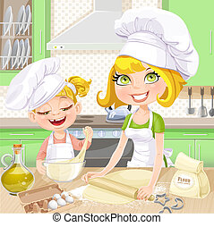 Mom and daughter in the kitchen - Mom and daughter baking...