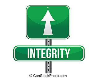 integrity road sign illustration design