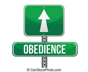 obediencia, camino, señal, Ilustración,...