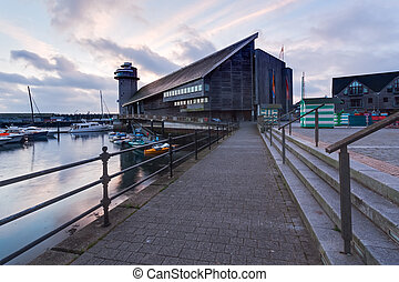 National maritime museum - Dawn at Discovery Quay with the...