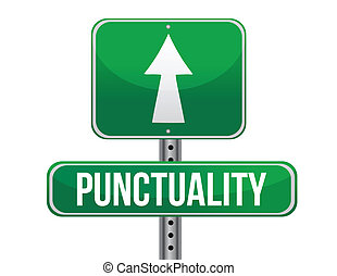 punctuality road sign illustration design over a white...