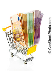 bills in a shopping cart - euro bills in a shopping cart...