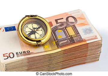 compass on euro banknotes, symbolic photo for europe,...
