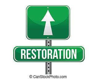 restoration road sign illustration design over a white...