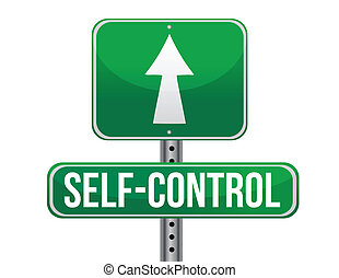 self control road sign illustration design over a white...