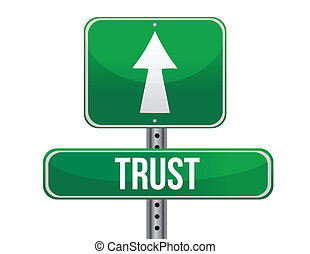 trust road sign illustration design over a white background