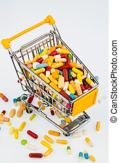 colorful tablets in cart - colorful tablets in the cart,...