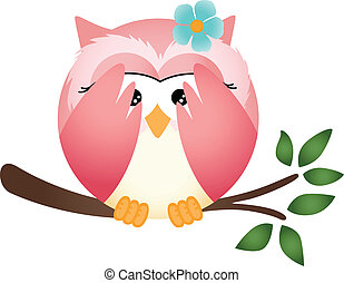 Owl with both wings in cover her ey - Scalable vectorial...
