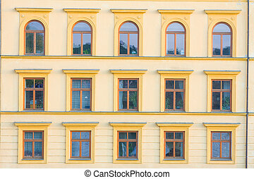 Facades of buildings built in the last century in Prague