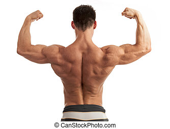 Young man flexing his arm and back muscles - Rear view of a...