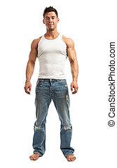 Full-length of handsome young man over white - Full-length...