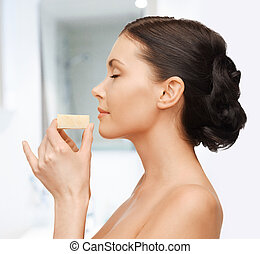woman with soap - bright picture of beautiful woman with...