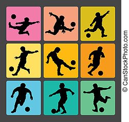 Soccer Boy Silhouettes 1 - Smooth and detail football...