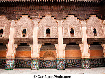Courtyard decoration in Marrakech, Morocco - Ben Yussef...