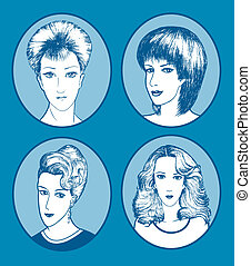 Woman Hair Style Hand Drawn - Woman drawing with four...