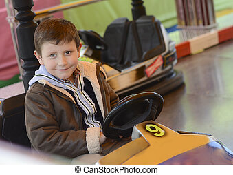 Bumper cars and young child