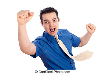 Yeah! - Successful business man in blue shirt cheering of...