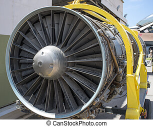 Jet engine of a fighter aircraft on a rack