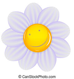 Daisy with a cheery smile isolated. Vector illustration.