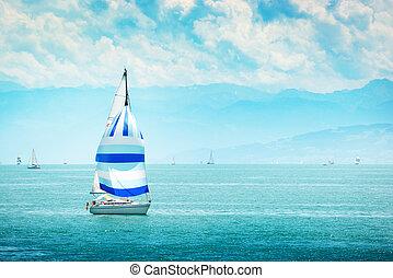 yacht at sea