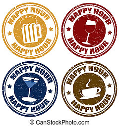 Set of happy hour stamps - Set of happy hour grunge rubber...