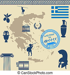 Greek symbols on the Greece map over old style background,...