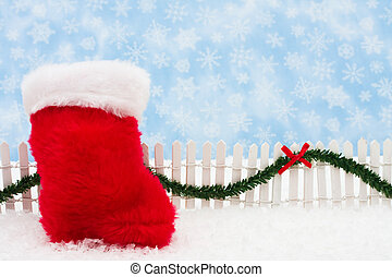 Merry Christmas - Christmas stocking and white picket fence...