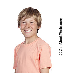 Smiling adolescent with a happy gesture