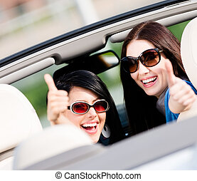 Two girls sitting in the car and thumbing up - Two happy...