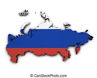Russia Flag Map Shape