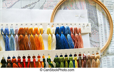 Cross Stitching Set - The embroidery hoop with canvas and...