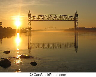 Cape Cod Canal at sunrise - Sunrise on the Cape Cod Canal